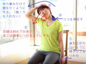 首、肩のストレッチ。僧帽筋、斜角筋、肩甲挙筋を伸ばす